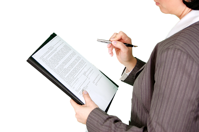 woman writing form